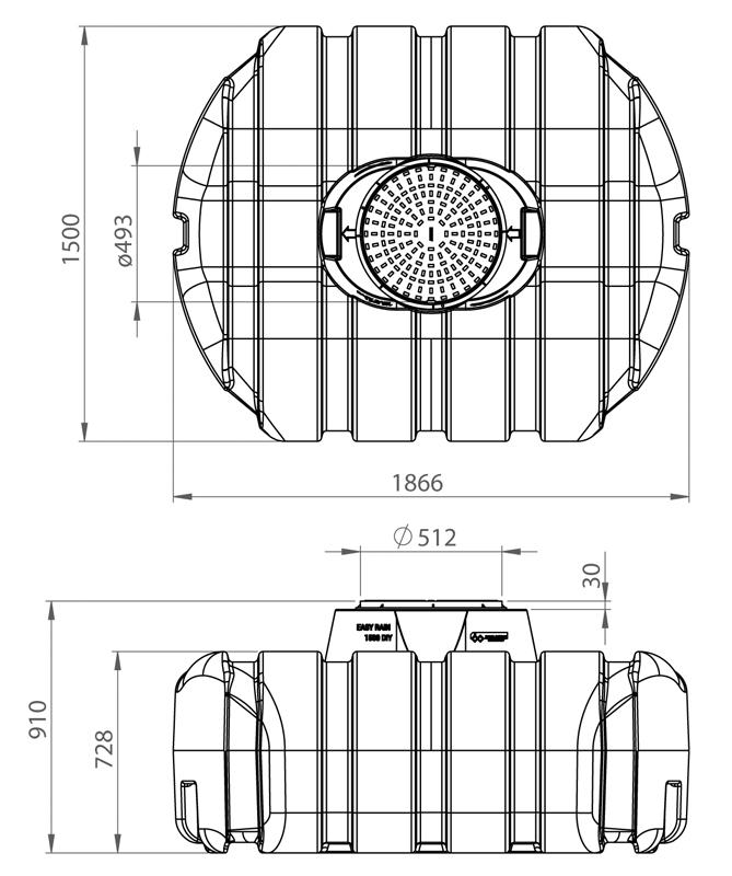 1500 litre Easy-rain tank dimensions